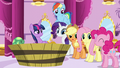 """Applejack, Pinkie Pie, and Rarity """"me too!"""" S5E13.png"""