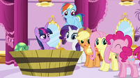 "Applejack, Pinkie Pie, and Rarity ""me too!"" S5E13"