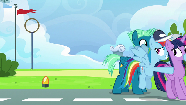 File:Rainbow pushes Twilight to the locker room S6E24.png