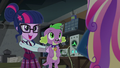Twilight holding Spike out to Dean Cadance EG3.png
