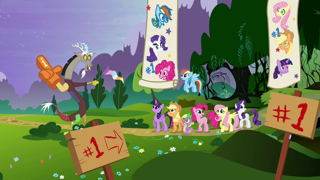 File:Discord congratulates Twilight and friends S4E02.png