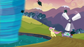 Fluttershy preparing to enter the tornado S2E22.png