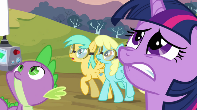 File:Twilight, Spike and two pegasi looking up S2E22.png