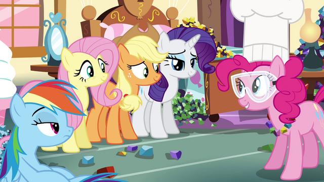 File:Pinkie Pie's friends listening Pinkie Pie talking S4E18.png