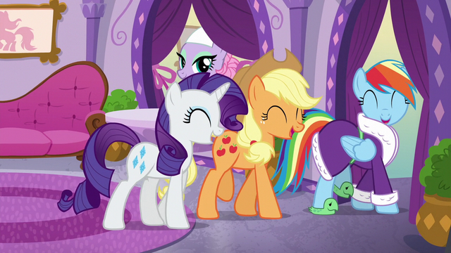 File:Rarity, Applejack, and Rainbow laughing together S6E10.png
