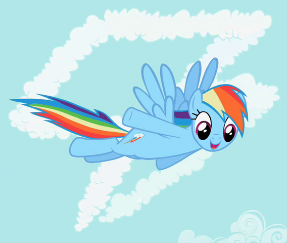 File:Rainbow Dash in front of cutie mark crop S02E08.png