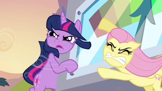 File:Twilight and Fluttershy holding the machine S2E22.png