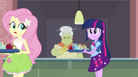 Fluttershy walking to a lunch table EG