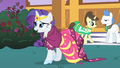 Rarity following Prince Blueblood into the garden S1E26.png
