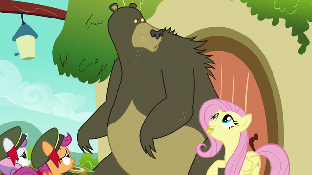 File:Harry looks at Fluttershy holding a bit S6E15.png