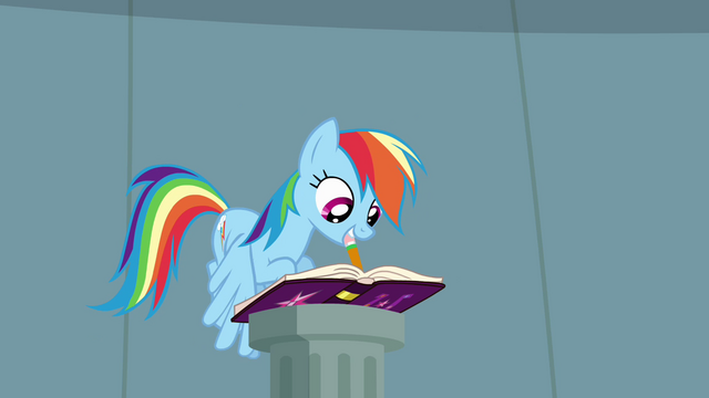 File:Rainbow Dash writing in journal S4E04.png
