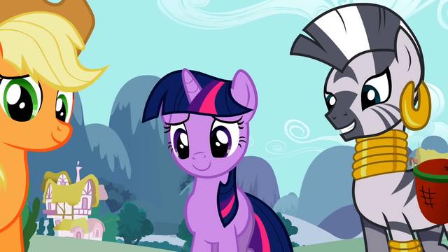 File:Applejack, Twilight and Zecora look at Apple Bloom S2E06.png