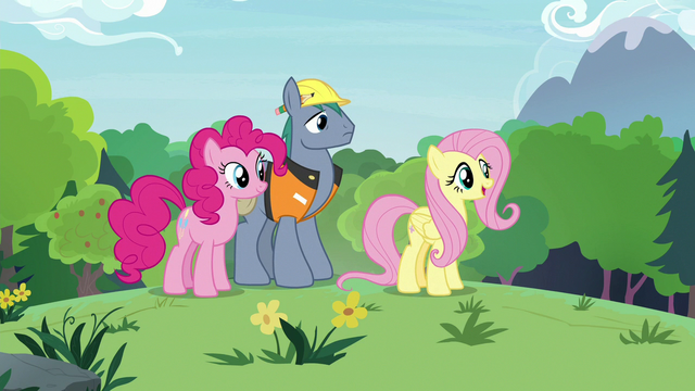 File:Fluttershy, Pinkie, Hard Hat in the meadow S7E5.png