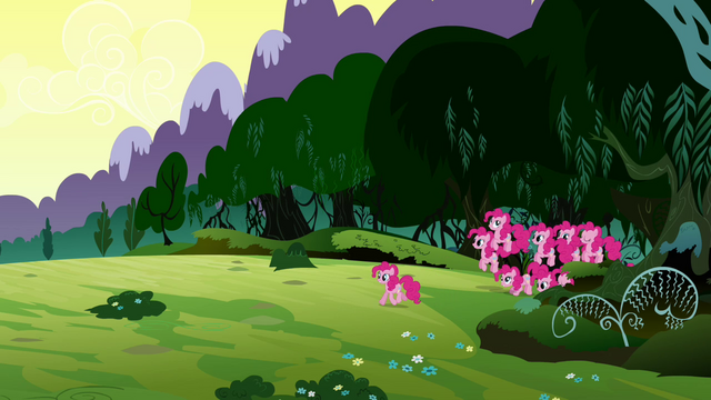 File:Pinkie walking out of the Everfree Forest with her clones S3E03.png