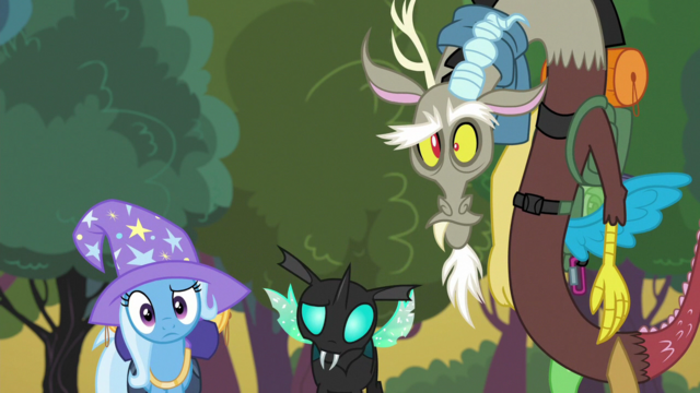File:Trixie, Thorax and Discord look at Starlight S6E26.png