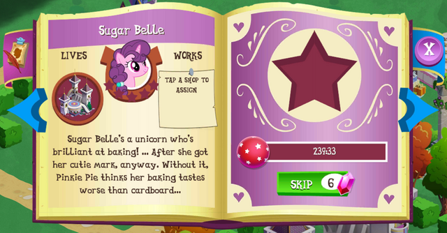 File:Sugar Belle album page MLP mobile game.png