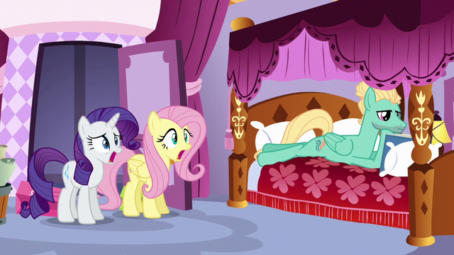 File:Fluttershy and Rarity shocked; Zephyr reading a book S6E11.png