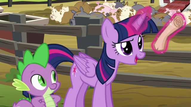 File:Twilight levitating Applejack's checklist S6E10.png