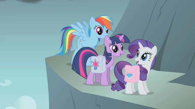File:Rainbow Twilight and Rarity on side of mountain S1E7.png