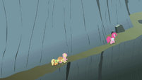 Applejack, Fluttershy, and Pinkie climbing the mountain S1E07