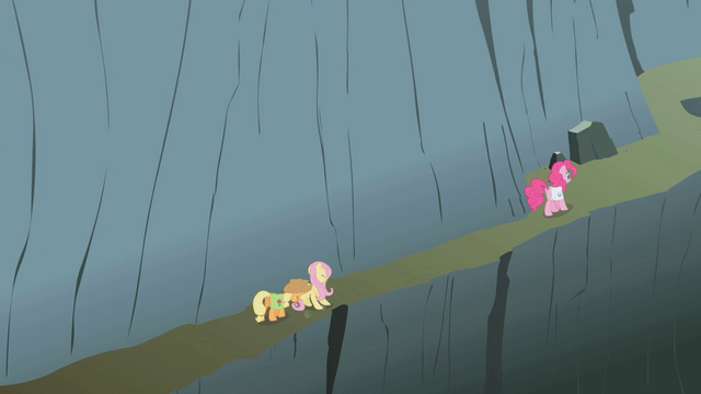 File:Applejack, Fluttershy, and Pinkie climbing the mountain S1E07.png