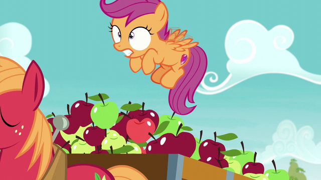 File:Big Mac pulls cart; Scootaloo about to fall S6E4.png
