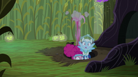 Pinkie drags Rainbow down into the hole S5E21