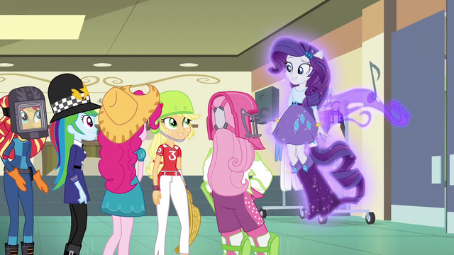 File:Ponied-up Rarity and her friends EG3.png