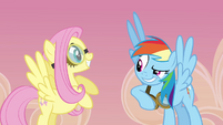 Rainbow and Fluttershy smiling S2E22