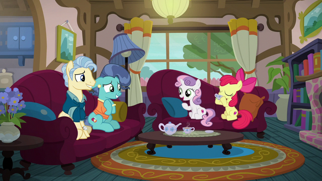 File:Apple Bloom and Sweetie Belle speaking with Petunia's parents S6E19.png