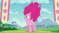 Pinkie with her mane up in shock S5E24