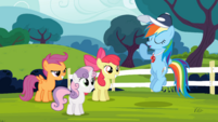 Rainbow Dash talking to the CMC S4E05