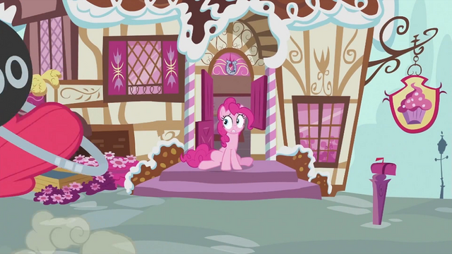 File:Pinkie Pie on front of entrance S2E06.png