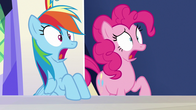 "File:Rainbow and Pinkie Pie shocked ""what?!"" S6E15.png"