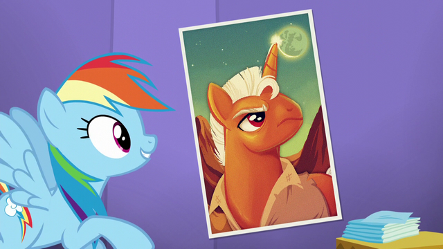 File:Rainbow looks at a poster complimenting it S5E19.png