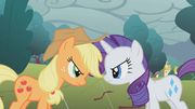 Rarity and Applejack stare-down S1E8