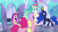 Celestia, Luna, and Cadance leaving the nursery S6E1
