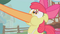 Applejack puts her hoof in Apple Bloom's mouth S1E12.png