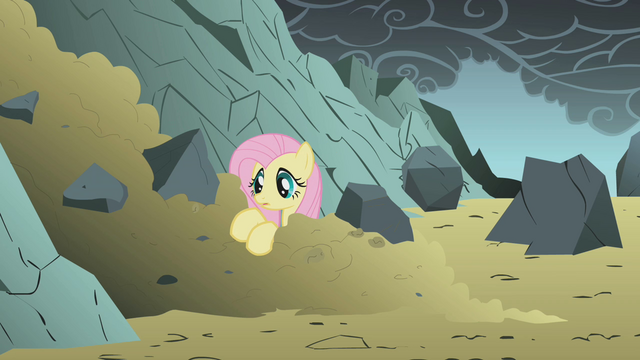 File:Fluttershy in a pile of dirt S1E07.png