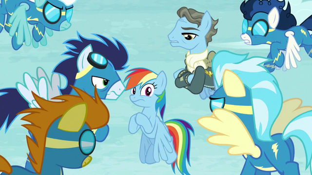 File:Wonderbolts looking suspicious at Rainbow S5E15.png