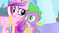 Cadance with hoof around Spike S4E24