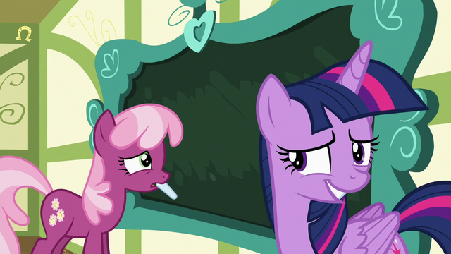 File:Cheerilee using chalk; Twilight looking embarrassed S7E3.png
