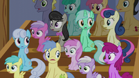 Audience of ponies in shock S6E4