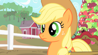 Applejack listens to Pinkie's second invitation to Gummy's afterbirthday party S1E25