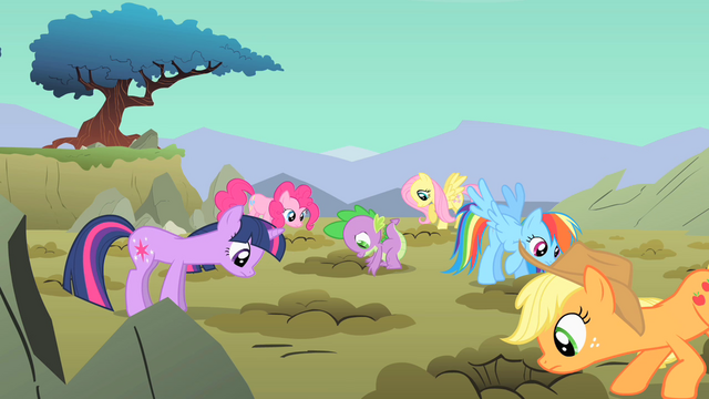 File:Main ponies look down the holes S01E19.png