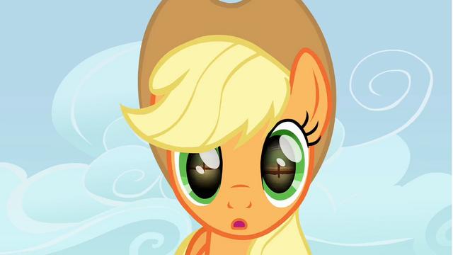 File:Applejack looks at the horseshoe S1E13.png