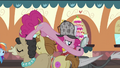 Pinkie Pie on top of Mulia, Donut Joe and Gustave S2E24.png