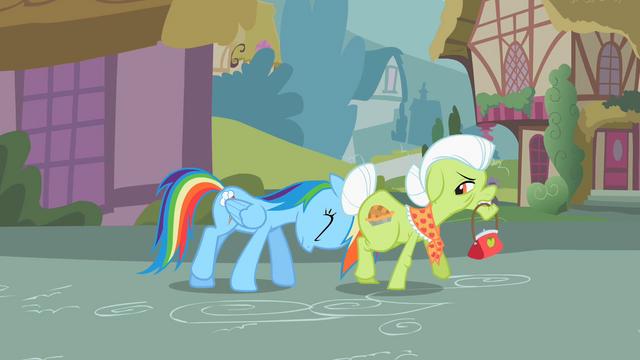 File:Rainbow Dash shoving Granny S2E8.png
