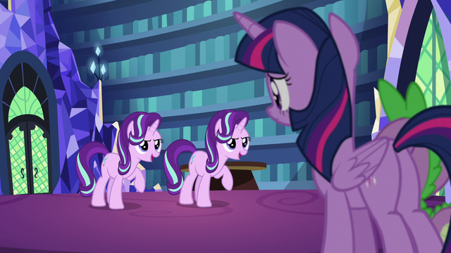File:Starlight and her duplicate speak in unison S6E21.png