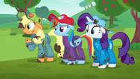 AJ, Dash, and Rarity wonder what to do S6E14